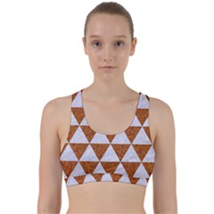 Triangle3 White Marble & Rusted Metal Back Weave Sports Bra by trendistuff