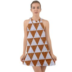 Triangle3 White Marble & Rusted Metal Halter Tie Back Chiffon Dress