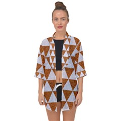 Triangle3 White Marble & Rusted Metal Open Front Chiffon Kimono