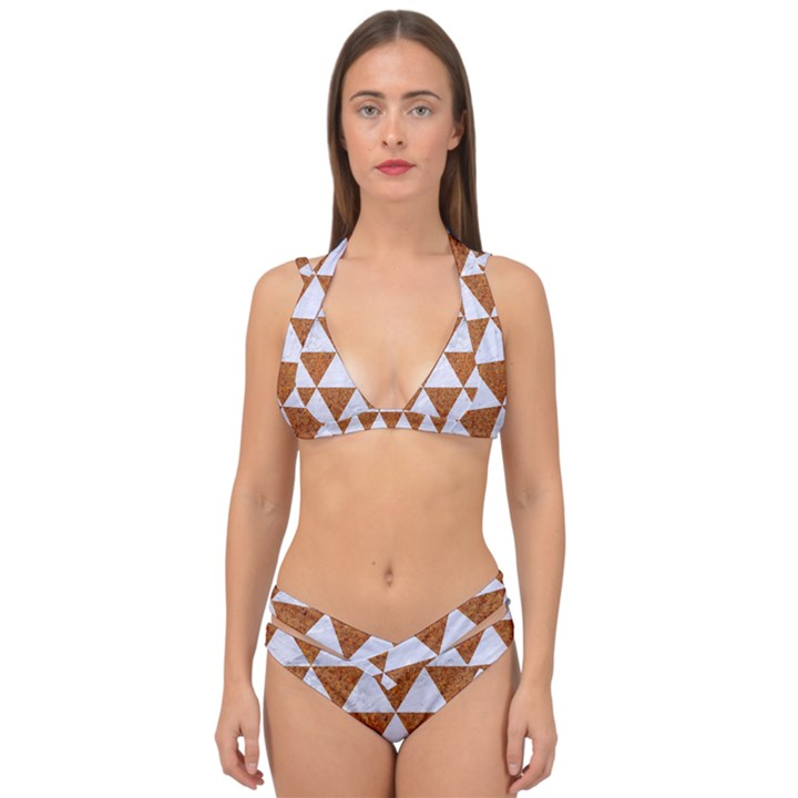 TRIANGLE3 WHITE MARBLE & RUSTED METAL Double Strap Halter Bikini Set