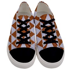 Triangle3 White Marble & Rusted Metal Men s Low Top Canvas Sneakers