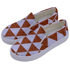 Triangle3 White Marble & Rusted Metal Kids  Canvas Slip Ons by trendistuff