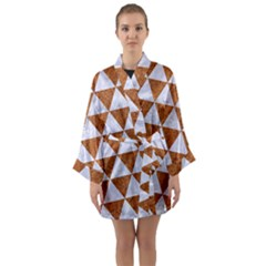 Triangle3 White Marble & Rusted Metal Long Sleeve Kimono Robe by trendistuff