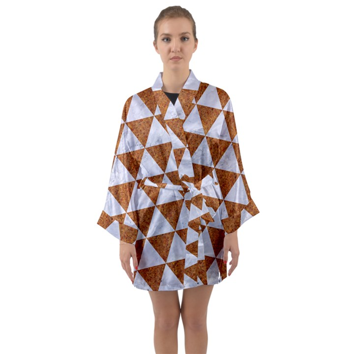 TRIANGLE3 WHITE MARBLE & RUSTED METAL Long Sleeve Kimono Robe