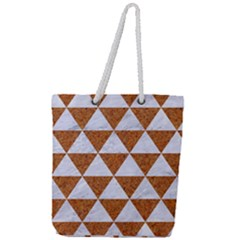 Triangle3 White Marble & Rusted Metal Full Print Rope Handle Tote (large) by trendistuff
