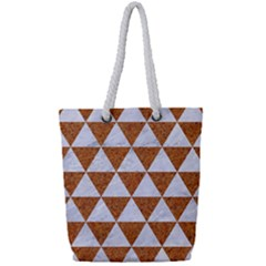 Triangle3 White Marble & Rusted Metal Full Print Rope Handle Tote (small) by trendistuff