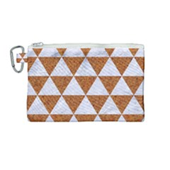 Triangle3 White Marble & Rusted Metal Canvas Cosmetic Bag (medium) by trendistuff