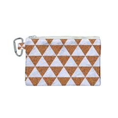 Triangle3 White Marble & Rusted Metal Canvas Cosmetic Bag (small) by trendistuff