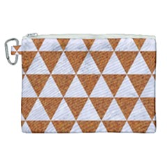 Triangle3 White Marble & Rusted Metal Canvas Cosmetic Bag (xl) by trendistuff