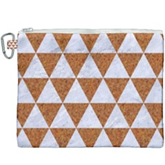 Triangle3 White Marble & Rusted Metal Canvas Cosmetic Bag (xxxl) by trendistuff