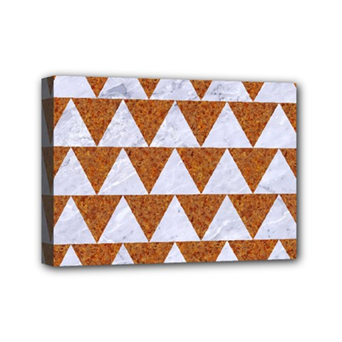 Triangle2 White Marble & Rusted Metal Mini Canvas 7  X 5  by trendistuff