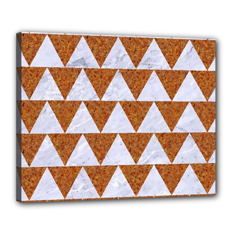 Triangle2 White Marble & Rusted Metal Canvas 20  X 16  by trendistuff