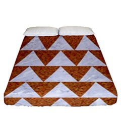 Triangle2 White Marble & Rusted Metal Fitted Sheet (queen Size) by trendistuff