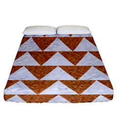 Triangle2 White Marble & Rusted Metal Fitted Sheet (king Size) by trendistuff