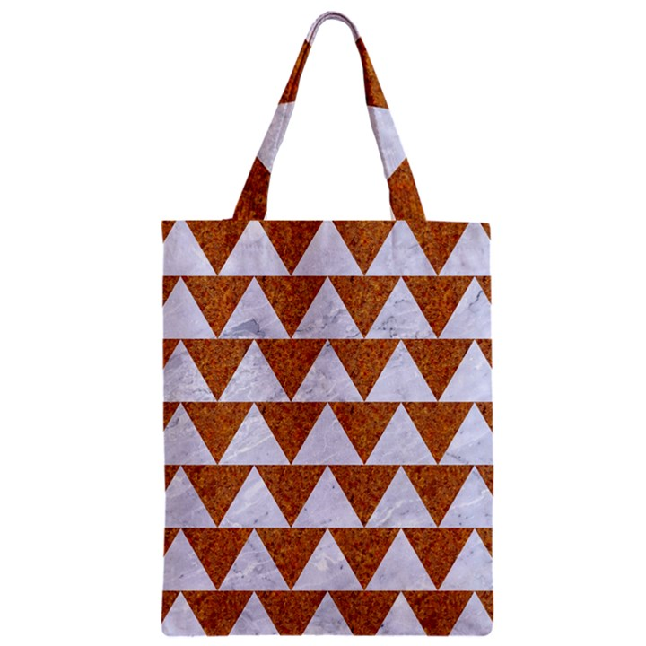 TRIANGLE2 WHITE MARBLE & RUSTED METAL Zipper Classic Tote Bag
