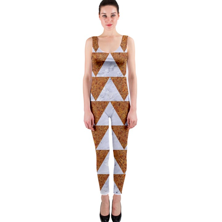 TRIANGLE2 WHITE MARBLE & RUSTED METAL One Piece Catsuit