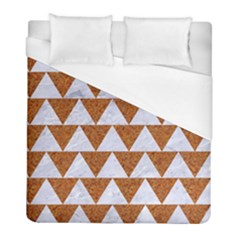 Triangle2 White Marble & Rusted Metal Duvet Cover (full/ Double Size)