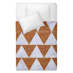 Triangle2 White Marble & Rusted Metal Duvet Cover Double Side (single Size) by trendistuff