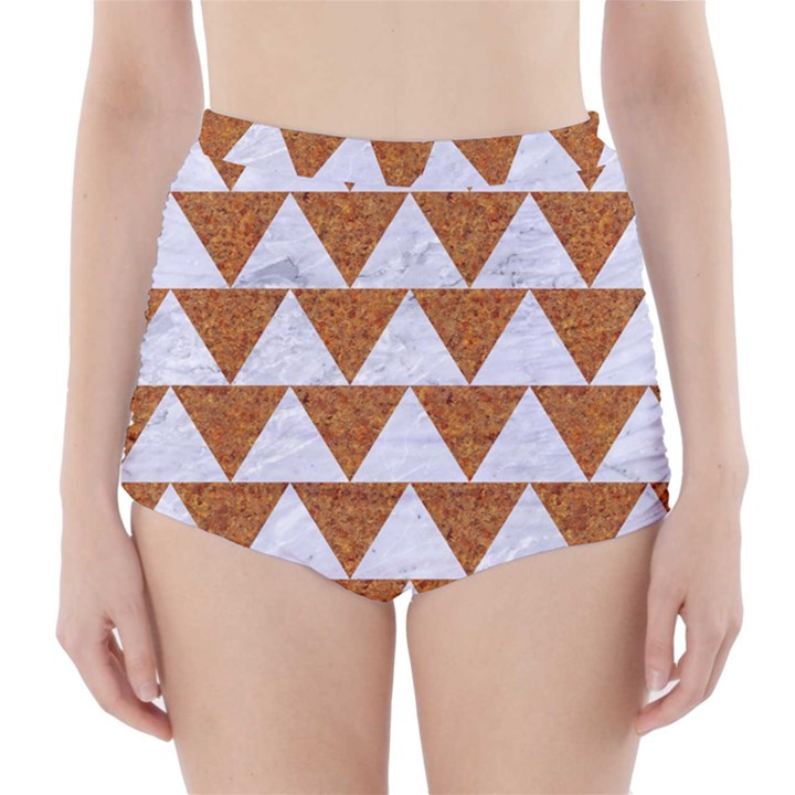 TRIANGLE2 WHITE MARBLE & RUSTED METAL High-Waisted Bikini Bottoms