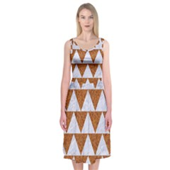 Triangle2 White Marble & Rusted Metal Midi Sleeveless Dress