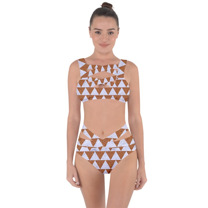 TRIANGLE2 WHITE MARBLE & RUSTED METAL Bandaged Up Bikini Set