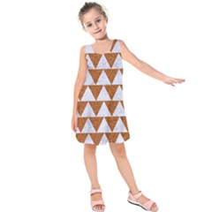 Triangle2 White Marble & Rusted Metal Kids  Sleeveless Dress