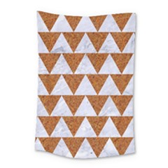 Triangle2 White Marble & Rusted Metal Small Tapestry by trendistuff