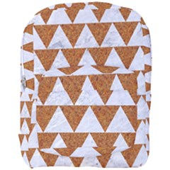 Triangle2 White Marble & Rusted Metal Full Print Backpack by trendistuff