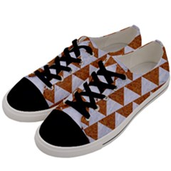 Triangle2 White Marble & Rusted Metal Men s Low Top Canvas Sneakers by trendistuff