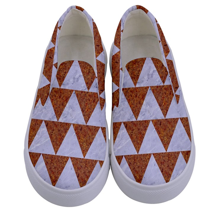 TRIANGLE2 WHITE MARBLE & RUSTED METAL Kids  Canvas Slip Ons
