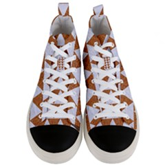 Triangle2 White Marble & Rusted Metal Men s Mid Top Canvas Sneakers