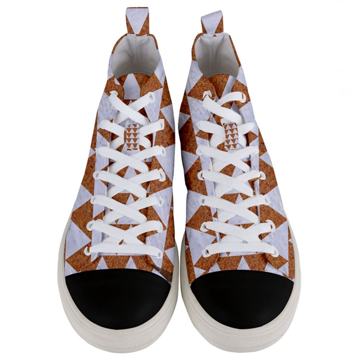TRIANGLE2 WHITE MARBLE & RUSTED METAL Men s Mid-Top Canvas Sneakers