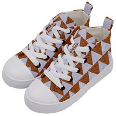 Triangle2 White Marble & Rusted Metal Kid s Mid Top Canvas Sneakers by trendistuff