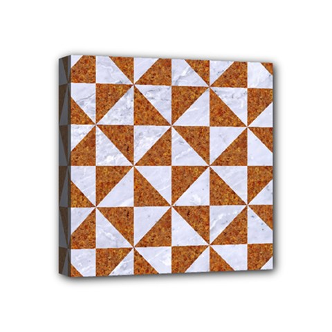 Triangle1 White Marble & Rusted Metal Mini Canvas 4  X 4  by trendistuff