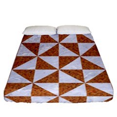 Triangle1 White Marble & Rusted Metal Fitted Sheet (queen Size) by trendistuff