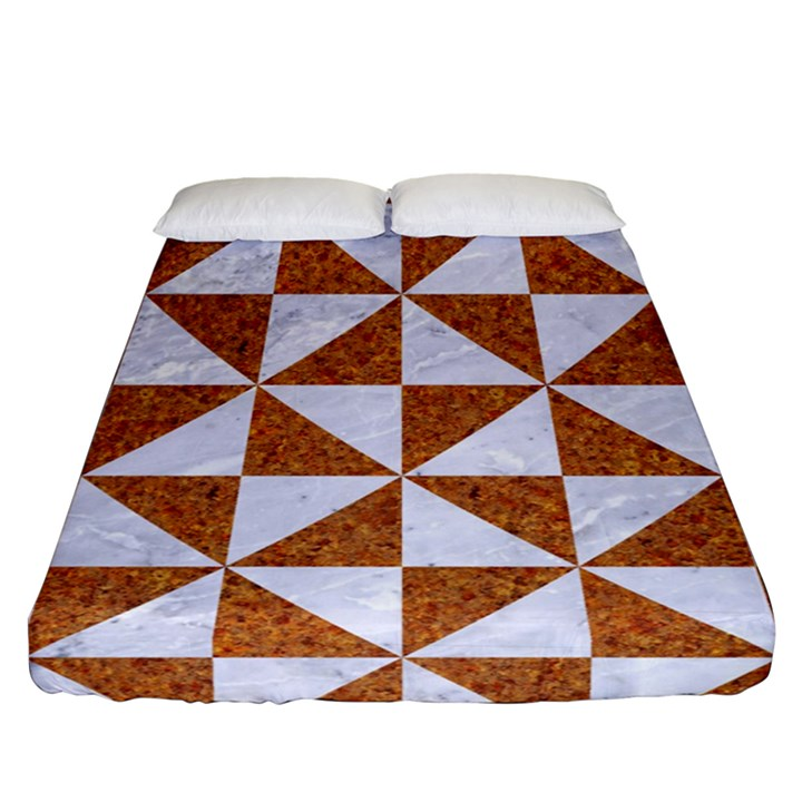 TRIANGLE1 WHITE MARBLE & RUSTED METAL Fitted Sheet (Queen Size)