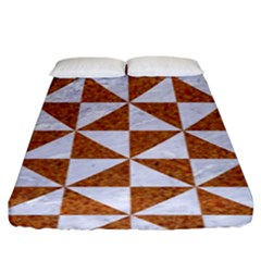 Triangle1 White Marble & Rusted Metal Fitted Sheet (king Size) by trendistuff