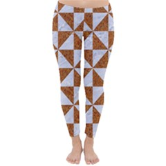 Triangle1 White Marble & Rusted Metal Classic Winter Leggings
