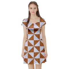 Triangle1 White Marble & Rusted Metal Short Sleeve Skater Dress by trendistuff