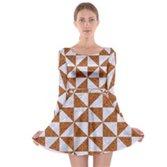 Triangle1 White Marble & Rusted Metal Long Sleeve Skater Dress by trendistuff