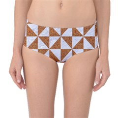 Triangle1 White Marble & Rusted Metal Mid Waist Bikini Bottoms by trendistuff