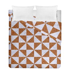 Triangle1 White Marble & Rusted Metal Duvet Cover Double Side (full/ Double Size) by trendistuff