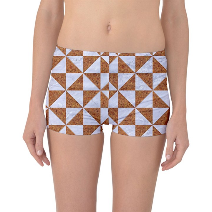 TRIANGLE1 WHITE MARBLE & RUSTED METAL Reversible Boyleg Bikini Bottoms