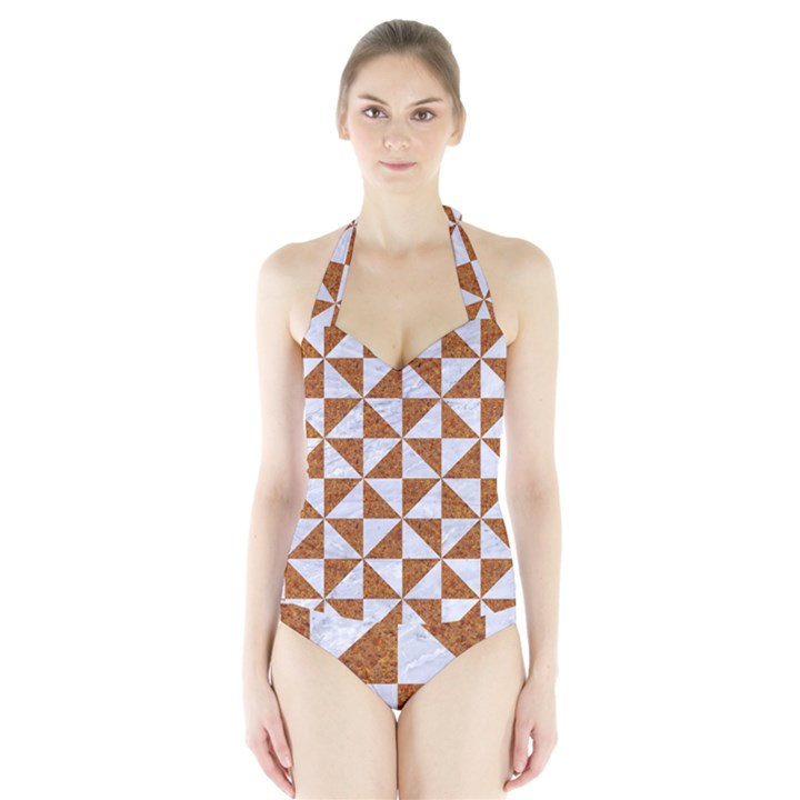 TRIANGLE1 WHITE MARBLE & RUSTED METAL Halter Swimsuit