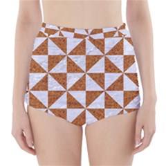 Triangle1 White Marble & Rusted Metal High Waisted Bikini Bottoms by trendistuff