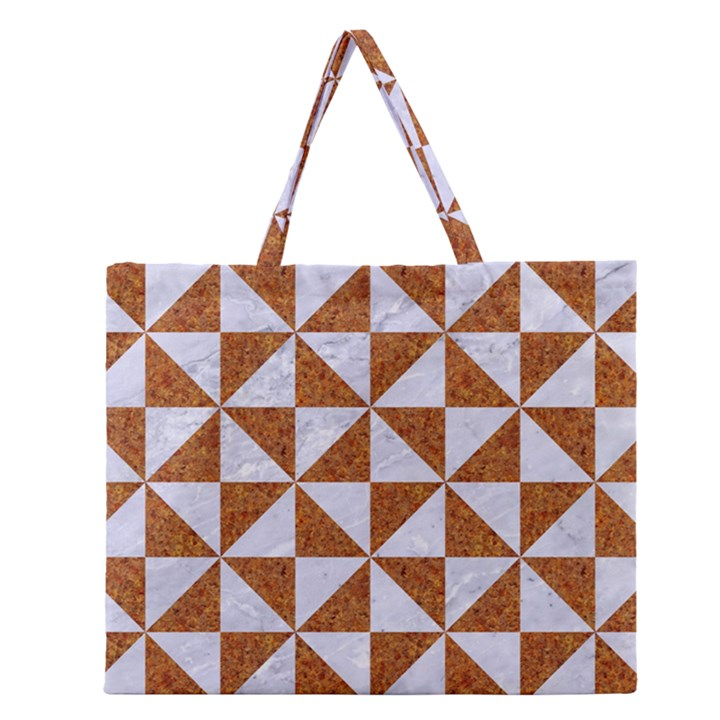 TRIANGLE1 WHITE MARBLE & RUSTED METAL Zipper Large Tote Bag