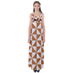Triangle1 White Marble & Rusted Metal Empire Waist Maxi Dress