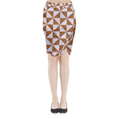 Triangle1 White Marble & Rusted Metal Midi Wrap Pencil Skirt by trendistuff