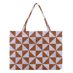 Triangle1 White Marble & Rusted Metal Medium Tote Bag by trendistuff