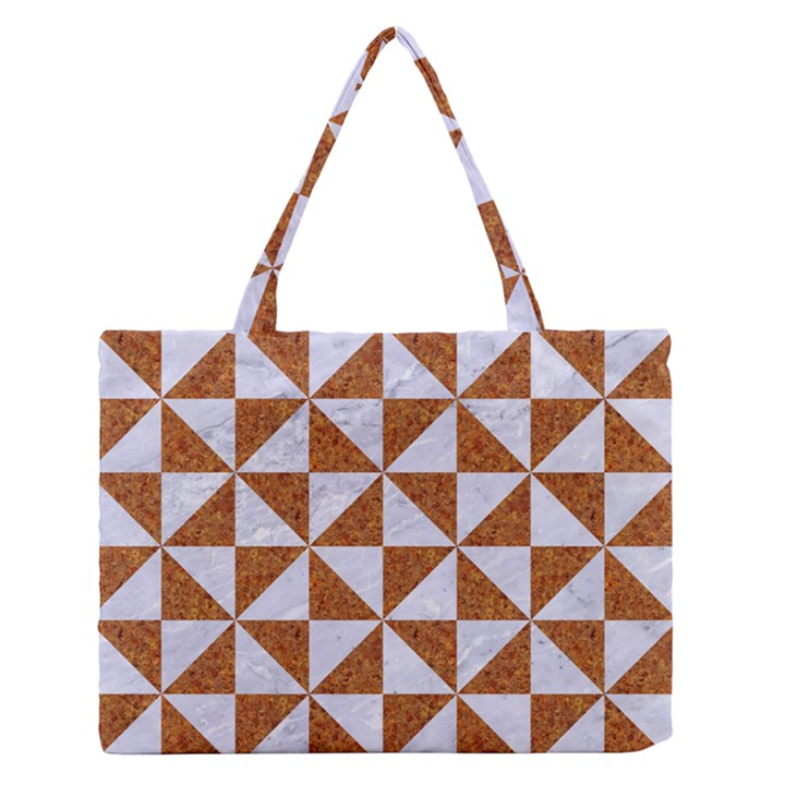 TRIANGLE1 WHITE MARBLE & RUSTED METAL Zipper Medium Tote Bag